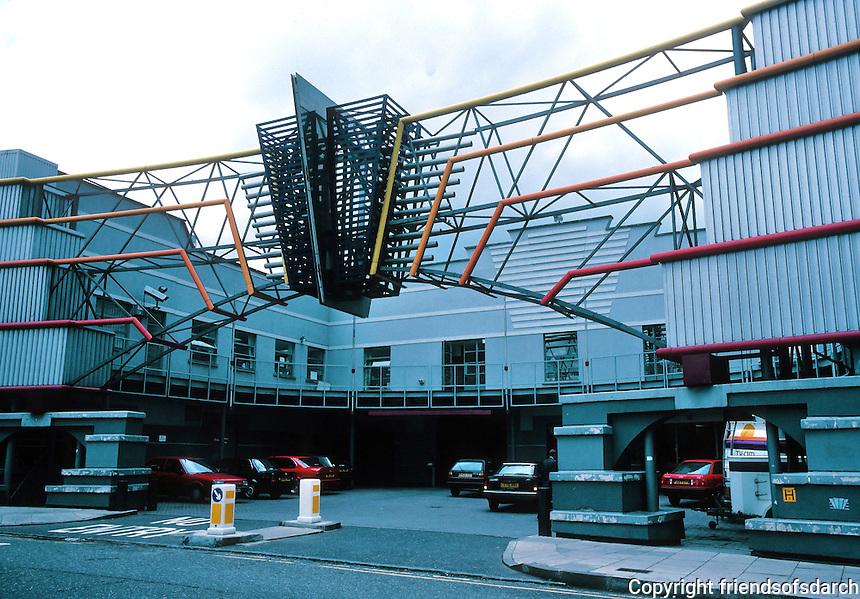 Terry Farrell: TV-AM, Entrance. Industrial building. Camden Lock. Entrance. Photo '90.