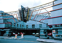 Terry Farrell: TV-AM, Entrance. Industrial building. Camden Lock. Entrance. Photo '90.