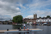 Henley-on-Thames. United Kingdom.  Women's  Double Sculls, Hollandia Roeiclub Netherlands, Boating for their heat at the 2017 Henley Royal Regatta, Henley Reach, River Thames. <br /> <br /> <br /> 09:07:13  Friday  30/06/2017   <br /> <br /> [Mandatory Credit. Peter SPURRIER/Intersport Images.