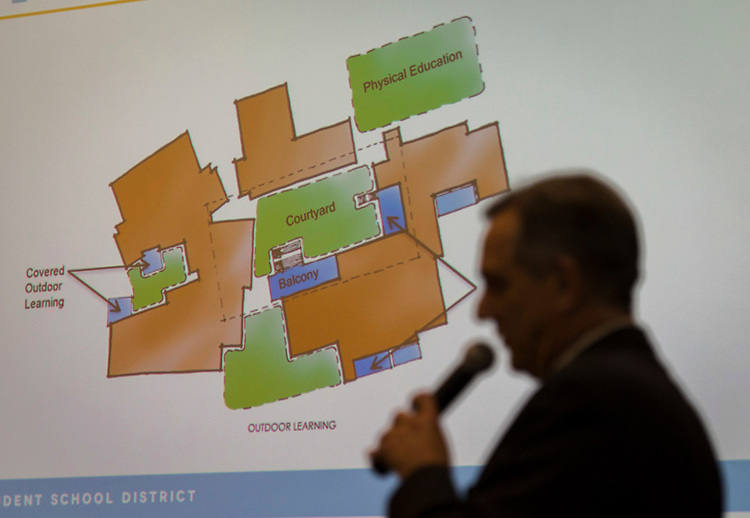 Bond community meeting at the Energy Institute High School, October 21, 2014.