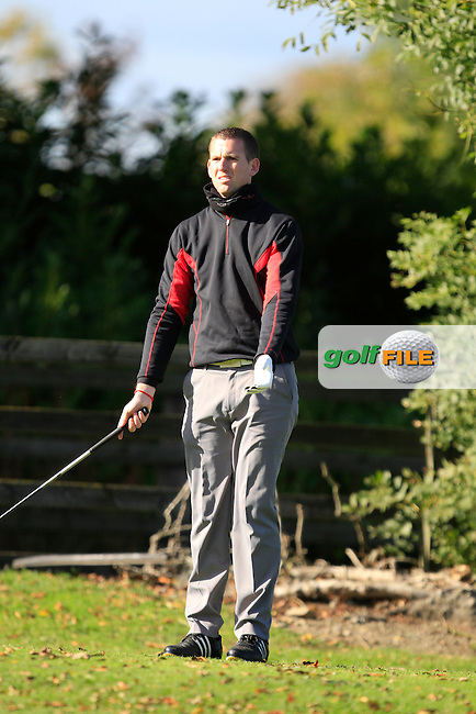 Padraig McGrath (P&amp;M Golf Superstore) on the 1st tee during Round 1 of The Cassidy Golf 103rd Irish PGA Championship in Roganstown Golf Club on Thursday 10th October 2013.<br /> Picture:  Thos Caffrey / www.golffile.ie
