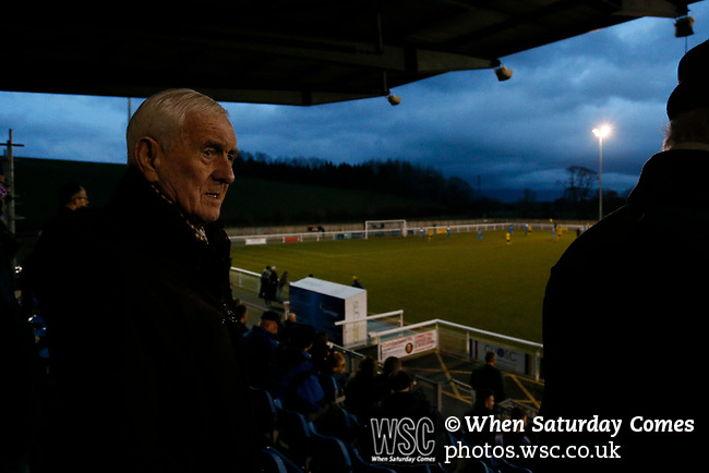 Penrith fans watch from the main stand. Penrith AFC V Hebburn Town, Northern League Division One, 22nd December 2018. Penrith are the only Cumbrian team in the Northern League. All the other teams are based across the Pennines in the north east.<br /> Penrith, winless at kick off, lost a thriller 3-4, in front of 100 people. They won five games all season, but were reprieved from relegation following Blyth's resignation from the league.