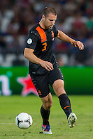 Netherlands' Ron Vlaarhun kicks the ball during a World Cup 2014 qualifying soccer match Hungary playing against Netherlands in Budapest, Hungary on September 11, 2012. ATTILA VOLGYI