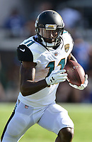 Jacksonville Jaguars receiver Marqise Lee (11) runs after a catch against the Los Angeles Rams in a NFL game Sunday, October 15, 2017 in Jacksonville, Fl.  (Rick Wilson/Jacksonville Jaguars)