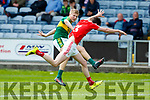 Donchadh O'Sullivan Kerry in action against Dean McGreehan Louth in the All Ireland Minor Football Quarter Finals at O'Moore Park, Portlaoise on Saturday.