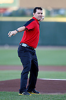 Former Boston Red Sox player Trot Nixon throws out the first pitch before a game between the Pawtucket Red Sox and Rochester Red Wings at Frontier Field on August 30, 2011 in Rochester, New York.  (Mike Janes/Four Seam Images)