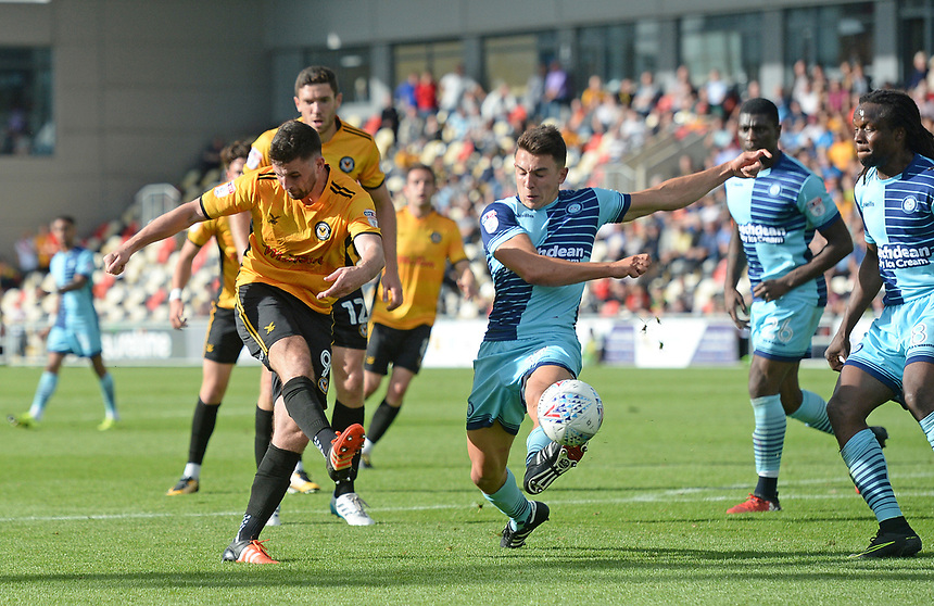 Newport County's Padraig Amond has a shot at goal <br /> <br /> Photographer Ian Cook/CameraSport<br /> <br /> The EFL Sky Bet League Two - Newport County v Wycombe Wanderers - Saturday 9th September 2017 - Rodney Parade - Newport<br /> <br /> World Copyright &copy; 2017 CameraSport. All rights reserved. 43 Linden Ave. Countesthorpe. Leicester. England. LE8 5PG - Tel: +44 (0) 116 277 4147 - admin@camerasport.com - www.camerasport.com