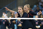 10 September 2015: Stanford's Merete Lutz (17) and Hayley Hodson (behind). The University of North Carolina Tar Heels hosted the Stanford University Cardinal at Carmichael Arena in Chapel Hill, NC in a 2015 NCAA Division I Women's Volleyball contest. North Carolina won the match 25-17, 27-25, 25-22.
