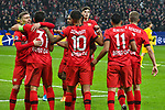 06.11.2019, BayArena, Leverkusen, GER, CL, Bayer 04 Leverkusen vs Atletico Madrid, UEFA regulations prohibit any use of photographs as image sequences and/or quasi-video <br /> <br /> im Bild die Mannschaft von Leverkusen jubelt nach dem Tor zum 2:0 Torschuetze Kevin Volland (#31, Bayer 04 Leverkusen) <br /> <br /> Foto © nordphoto/Mauelshagen