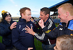 St Joseph's Doora Barefield manager Eamonn Corry is congratulated by supporters following their Intermediate county final win over Broadford  in Cusack Park. Photograph by John Kelly.