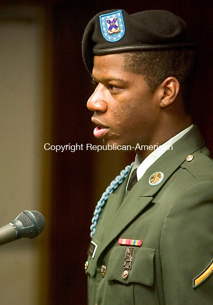 WATERBURY, CT--08 APRIL 2007--040807JS06-Pvt. Robert Gatling, a member of the Connecticut National Guard, recites 'A Soldiers Creed' during the Goodwill Lodge #1325 and Clock City Temple #895's Beauty and Talent Department Annual Easter Fashion and Talent Show Sunday at the Goodwill Lodge in Waterbury.<br /> Jim Shannon / Republican-American