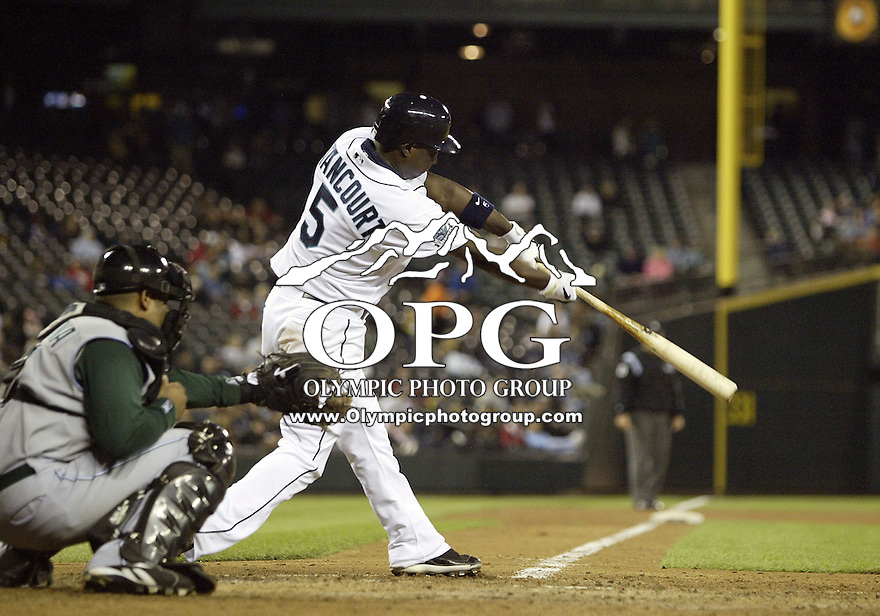 13 Sept 2007:  Seattle Mariners shortstop Yuniesky Betancourt connects for a base hit against the Tampa Bay Devil Rays. Seattle won 8-7 at Safeco Field in Seattle, WA.