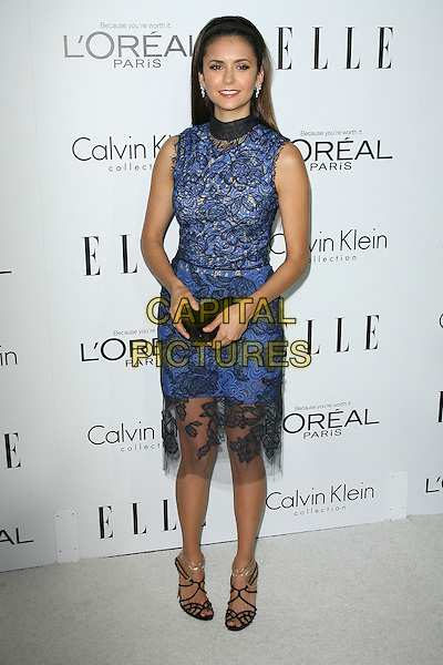 Nina Dobrev.ELLE's 19th Annual Women In Hollywood Celebration held at Four Seasons Hotel, Beverly Hills, California, USA.  .October 15th, 2012.full length dress clutch bag blue sleeveless lace hairband black high collar .CAP/ADM.©AdMedia/Capital Pictures.