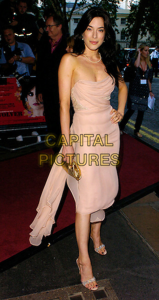 "JAIME MURRAY.""Volver"" UK film premiere, Curzon Mayfair, London, UK..August 3rd, 2006.Ref: CAN.full length cream stapless dress gold clutch purse.www.capitalpictures.com.sales@capitalpictures.com.©Can Nguyen/Capital Pictures"