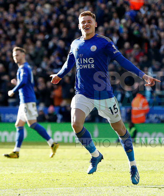 Harvey Barnes of Leicester City celebrates his goal against Chelsea during the Premier League match at the King Power Stadium, Leicester. Picture date: 1st February 2020. Picture credit should read: Darren Staples/Sportimage