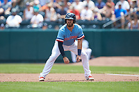 Eric Haase (13) of the Columbus Clippers takes his lead off of first base against the Indianapolis Indians at Huntington Park on June 17, 2018 in Columbus, Ohio. The Indians defeated the Clippers 6-3.  (Brian Westerholt/Four Seam Images)