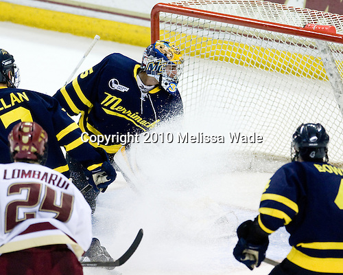 Matt Price's (BC - 25) goal made it 4-0 late in the first period. - The Boston College Eagles defeated the Merrimack College Warriors 7-0 on Tuesday, February 23, 2010 at Conte Forum in Chestnut Hill, Massachusetts.