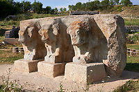 Statues of bulls and Eflatun Pınar ( Eflatunpınar) Ancient Hittite relief sculpture monument and sacred pool, and its Hittite relief scultures of Hittite gods.  Between 15th to 13th centuries BC. Lake Beysehir National Park, Konya, Turkey.