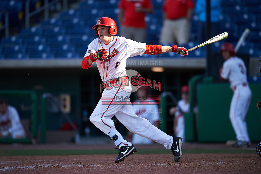 Ball State Cardinals pinch hitter Justin Kirkpatrick (8) at bat during a game against the Louisville Cardinals on February 19, 2017 at Spectrum Field in Clearwater, Florida.  Louisville defeated Ball State 10-4.  (Mike Janes/Four Seam Images)