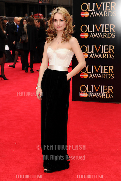 Lily James arriving for the Laurence Olivier Awards 2013 at the Royal Opera House, Covent Garden, London. 28/04/2013 Picture by: Steve Vas / Featureflash