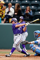 Austin Rei #11 of the Washington Huskies bats against the UCLA Bruins at Jackie Robinson Stadium on March 17, 2013 in Los Angeles, California. (Larry Goren/Four Seam Images)