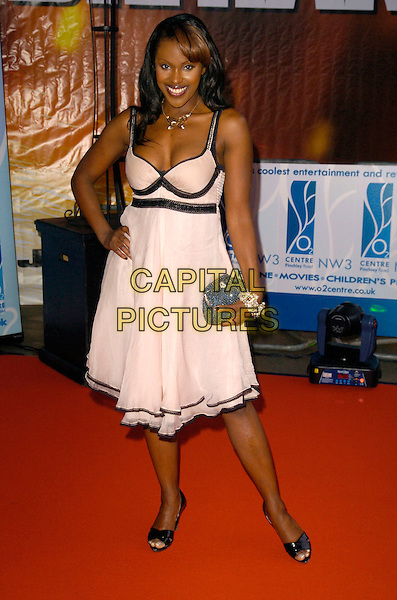 "KELLE BRYAN.Attending a charity screening of ""Die Hard 4.0"" at the 02 Centre, Swiss Cottage, London, England, July 2nd 2007..full length pale pink dress hand on hip kelly.CAP/CAN.©Can Nguyen/Capital Pictures"
