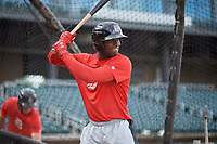 Birmingham Barons Luis Robert (26) during batting practice before a Southern League game against the Chattanooga Lookouts on May 1, 2019 at Regions Field in Birmingham, Alabama.  Chattanooga defeated Birmingham 5-0.  (Mike Janes/Four Seam Images)