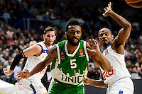 Real Madrid's player Rudy Fernandez and Dontaye Draper and Unics Kazan's player Keith Langford during match of Turkish Airlines Euroleague at Barclaycard Center in Madrid. November 24, Spain. 2016. (ALTERPHOTOS/BorjaB.Hojas) //NORTEPHOTO