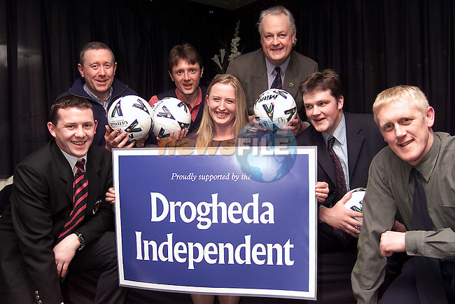 At the launch of the Drogheda United School of Excellence were Brian Murphy, PRO Drogheda Boys, Conall Collier, secetary Meath and District League, Marcus Cavaroli, sports editor Drogheda Independent, Karen Spink, marketing manager Drogheda Independent, Des Clancy, treasurer, North East Counties Schoolboy League, Kieran O'Sullivan and Harry McCue, manager Drogheda United..Picture: Paul Mohan/Newsfile