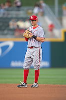 Syracuse Chiefs second baseman Trea Turner (7) on defense against the Charlotte Knights at BB&T BallPark on June 1, 2016 in Charlotte, North Carolina.  The Knights defeated the Chiefs 5-3.  (Brian Westerholt/Four Seam Images)
