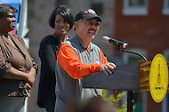 April 26, 2013  (Baltimore, Maryland)  San Francisco Mayor Edwin M. Lee during a community service visit to Baltimore, MD after Mayor Stephanie Rawling-Blake (left, center) won a Super Bowl bet between the two cities.  (Photo by Don Baxter/Media Images International)
