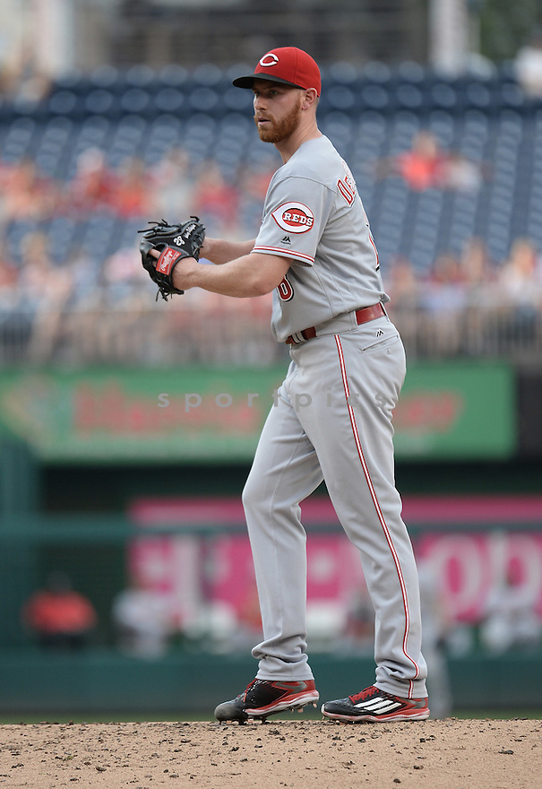 CIncinnati Reds Anthony DeSclafani (28) during a game against the Washington Nationals on July 1, 2016 at Nationals Park in Washington DC. The Nationals beat the Reds 3-2.