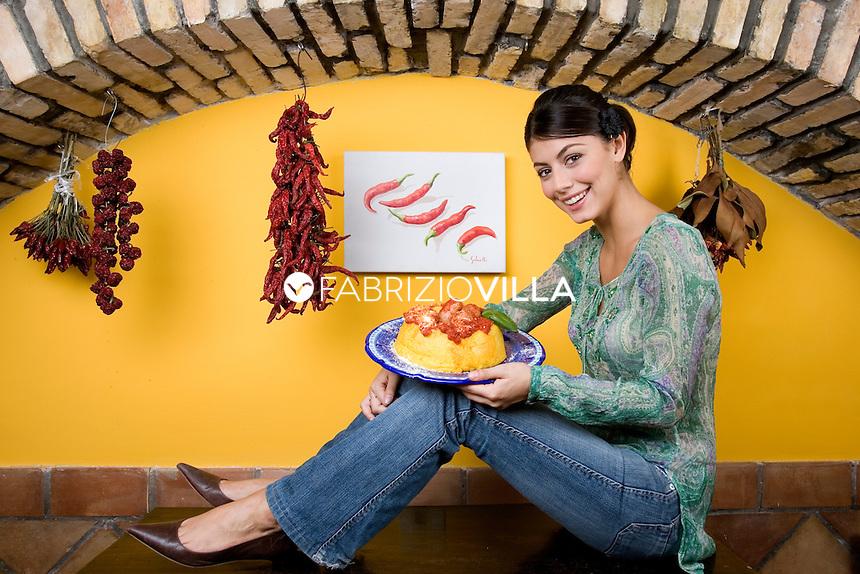 Roma 25 ottobre 2006.<br /> Alessandra Castronardo fotografata nel ristorante di Cupiello's.
