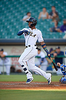 New Orleans Baby Cakes Monte Harrison (3) hits a single during a Pacific Coast League game against the Oklahoma City Dodgers on May 6, 2019 at Shrine on Airline in New Orleans, Louisiana.  New Orleans defeated Oklahoma City 4-0.  (Mike Janes/Four Seam Images)