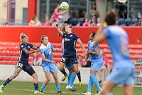 Bridgeview, IL - Sunday May 29, 2016: Sky Blue FC midfielder Kelly Conheeney (24) goes up for a header with Chicago Red Stars midfielder Danielle Colaprico (24). The Chicago Red Stars and Sky Blue FC played to a 1-1 tie during a regular season National Women's Soccer League (NWSL) match at Toyota Park.