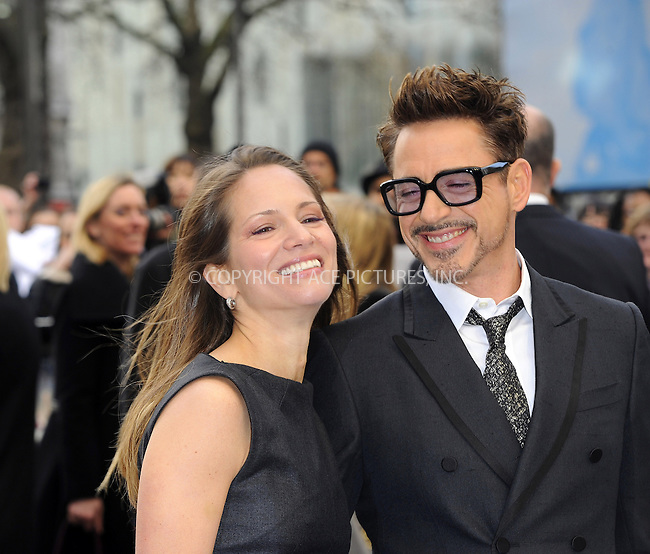 WWW.ACEPIXS.COM....US Sales Only....April 18 2013, London....Susan Downey and Robert Downey Jr at the premiere of 'Iron Man 3' held at the Odeon Leicester Square on April 18 2013 in London ....By Line: Famous/ACE Pictures......ACE Pictures, Inc...tel: 646 769 0430..Email: info@acepixs.com..www.acepixs.com