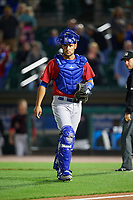 Toronto Blue Jays catcher Luke Maile (52), on rehab assignment with the Buffalo Bisons, during a game against the Rochester Red Wings on August 25, 2017 at Frontier Field in Rochester, New York.  Buffalo defeated Rochester 2-1 in eleven innings.  (Mike Janes/Four Seam Images)