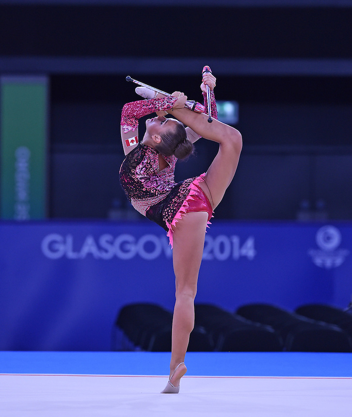 Canada's Annabelle Kovacs competes in rhythmic gymnastics team final and individual qualification subdivision 2<br /> <br /> Photographer Chris Vaughan/CameraSport<br /> <br /> 20th Commonwealth Games - Day 1 - Thursday 24th July 2014 - Rhythmic Gymnastics - The SSE Hydro - Glasgow - UK<br /> <br /> &copy; CameraSport - 43 Linden Ave. Countesthorpe. Leicester. England. LE8 5PG - Tel: +44 (0) 116 277 4147 - admin@camerasport.com - www.camerasport.com