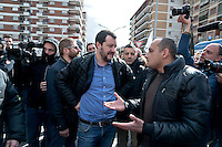 Italian Lega Nord (Northern League) Secretary, Matteo Salvini addresses the crowd during a meeting with his supporters for the upcoming elections for the mayor of Rome in Torpignattara neighborhood in Rome, Italy. 3th March, 2016.