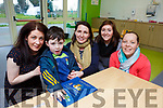Jean O'Sullivan who is holding a fun pub quiz for St Francis School Beaufort in Foleys Bar Kenmare on 2nd February with her son Michael O'Sullivan and l-r: Maeve O'Donoghue Triona O'Neill and Emma Cremin in Michaels classroom