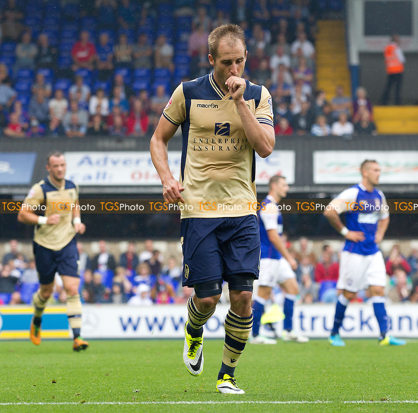 Luke Varney, Leeds United with a strangely subdued celebration following his equalising goal  - Ipswich Town vs Leeds United - Sky Bet Championship Football at Portman Road, Ipswich, Suffolk- 24/08/13 - MANDATORY CREDIT: Ray Lawrence/TGSPHOTO - Self billing applies where appropriate - 0845 094 6026 - contact@tgsphoto.co.uk - NO UNPAID USE
