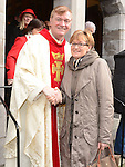 Fr Iggy O'Donovan and MEP Mairead McGuinness pictured at the annual SOSAD mass at the Augustinian church Drogheda. Photo:Colin Bell/pressphotos.ie