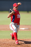 Philadelphia Phillies minor league pitcher Bryan Morgado vs. the Toronto Blue Jays in an Instructional League game at the Carpenter Complex in Clearwater, Florida;  October 9, 2010.  Photo By Mike Janes/Four Seam Images