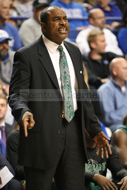 Cleveland State head coach Gary Waters during the first half of the University of Kentucky men's basketball game vs. Cleveland State at Rupp Arena in Lexington, Ky., on Monday, November 25, 2013. UK won 68-61. Photo by Tessa Lighty | Staff