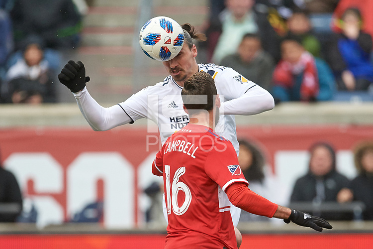 Bridgeview, IL - Saturday April 14, 2018: Zlatan Ibrahimovic, Jonathan Campbell during a regular season Major League Soccer (MLS) match between the Chicago Fire and the LA Galaxy at Toyota Park.  The LA Galaxy defeated the Chicago Fire by the score of 1-0.