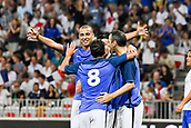 June 17th 2017; Allianz Riviera, Nice, France; Legends football international, France versus Italy;  David Trezeget (France) Youri Djorkaeff (France) Eric Carriere (France) - Ludovic Giuly celebrate their goal