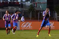 SÃO PAULO, SP, 10 DE JULHO DE 2013 - CAMPEONATO BRASILEIRO - SÃO PAULO x BAHIA: Talisca (d) comemora gol do Bahia durante São Paulo x Bahia, partida antecipada válida pela 11ª rodada do Campeonato Brasileiro de 2013, disputada no estádio do Morumbi em São Paulo. FOTO: LEVI BIANCO - BRAZIL PHOTO PRESS.