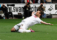 Pictured: Stephen Dobbie slides on his knees in celebration of putting the home side two nil ahead<br />