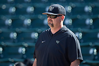 Wake Forest Demon Deacons assistant coach John Hendricks (44) prior to the game against the Furman Paladins at BB&T BallPark on March 2, 2019 in Charlotte, North Carolina. The Demon Deacons defeated the Paladins 13-7. (Brian Westerholt/Four Seam Images)