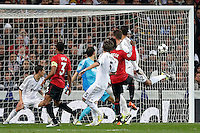 Real Madrid's Angel Di Maria, Diego Lopez, Cristiano Ronaldo and Fabio Coentrao and Manchester United's Danny Welbeck and Patrice Evra during Champions League 2012/2013 match.February 12,2013. (ALTERPHOTOS/Alfaqui/Cesar Cebolla) /NortePhoto